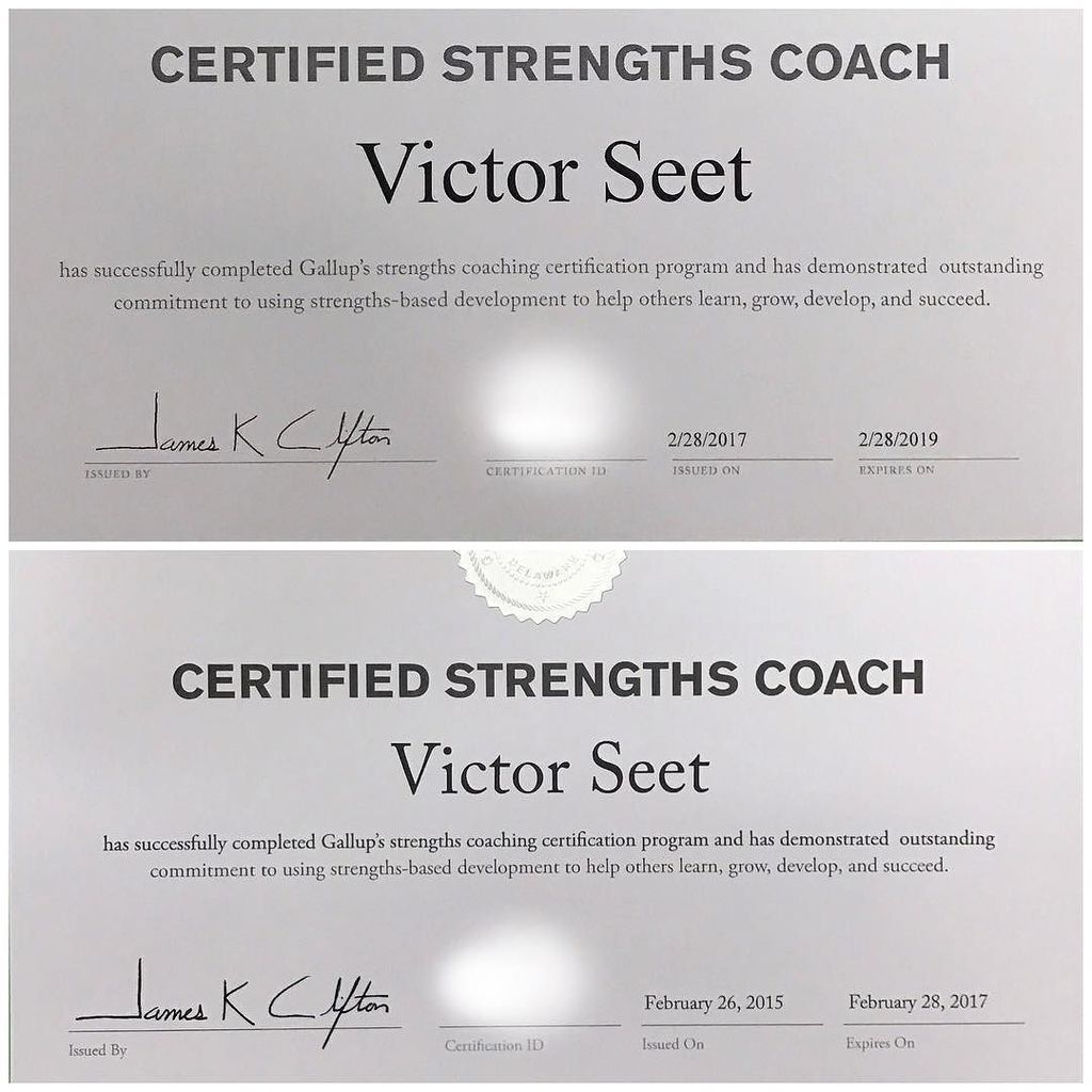 As a #Singapore #StrengthsFinder #Coach, I&#39;m glad to renew my #Gallup #CliftonStrengths #Coaching Certificate. Fir…  http:// ift.tt/2smwoiq  &nbsp;  <br>http://pic.twitter.com/ZfOS1NAJOW