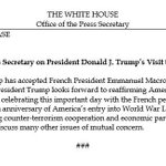 .@POTUS Has Accepted @EmmanuelMacron's Invitation to visit for #BastilleDay, reaffirming America's strong ties of friendship with France.