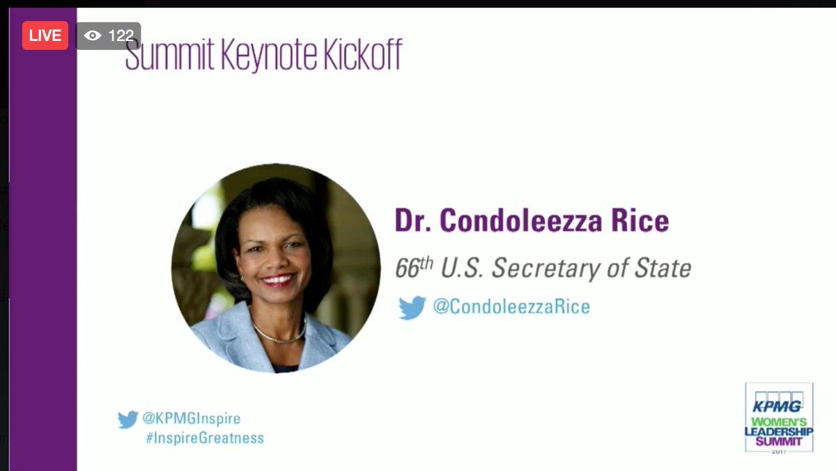 Dr. @CondoleezzaRice is now LIVE @KPMGInspire Summit -   Watch ==>...