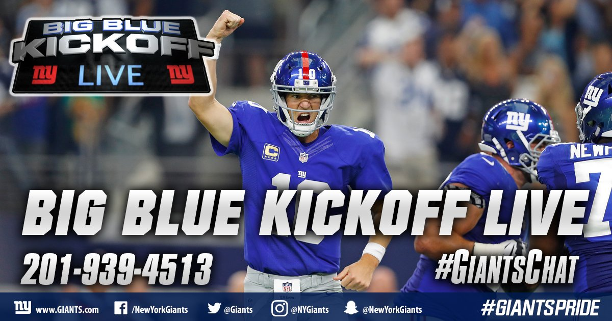 It&#39;s a Wednesday edition of Big Blue Kickoff Live at 12PM ET on  http:// Giants.com  &nbsp;   and Giants App! #GiantsChat <br>http://pic.twitter.com/CiNKYAggeL