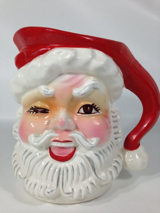 NAPCO Ceramic Vintage 1960's JAPAN Winking Santa Claus Pitcher Christmas