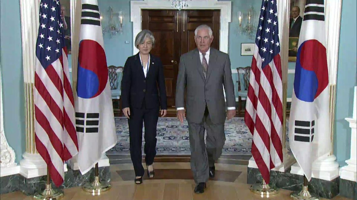 Secretary of State Rex Tillerson meets with #Korea's Foreign Minister Kang Kyung-wha at the @StateDept.