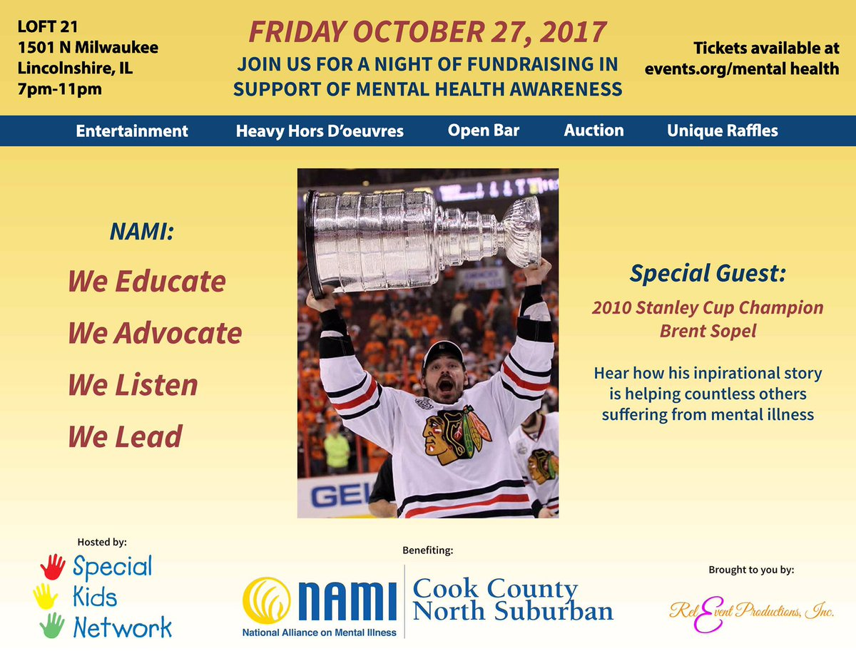 Join us to support &amp; raise #funds for #MentalHealth programs @NamiCCNS @NAMICommunicate w/ @brent_sopel!  #NAMI #Chicago #FamilySupport<br>http://pic.twitter.com/675RkwZE68