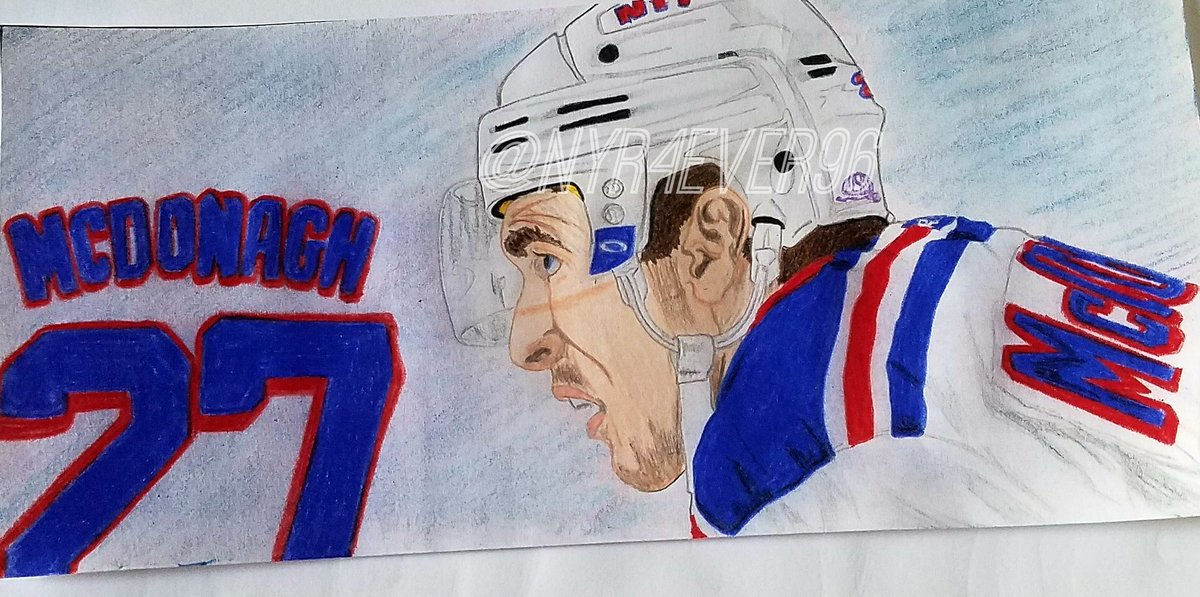 My finished drawing of our #NYR captain @RMcDonagh27 #blueshirts #draw...