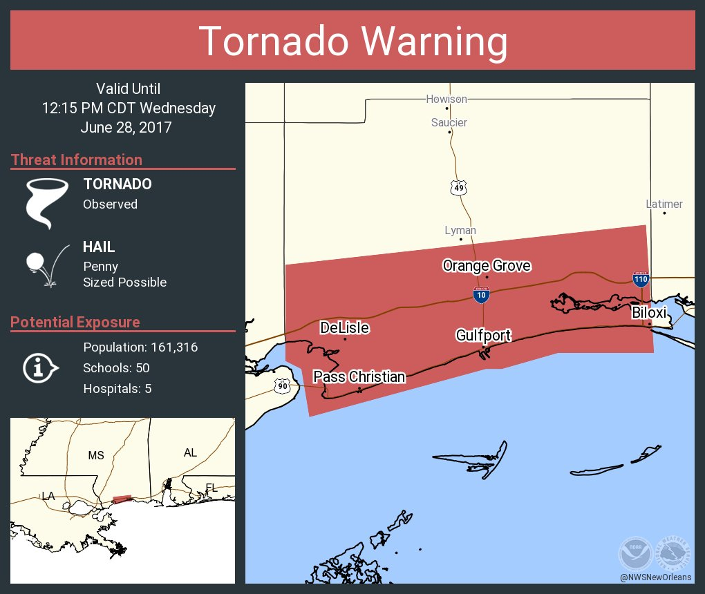 Nws New Orleans On Twitter Tornado Warning Including Gulfport Ms