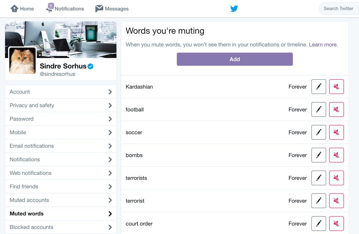 """Find Tweets With Certain Words sindre sorhus on twitter: """"fyi, you can mute tweets with"""