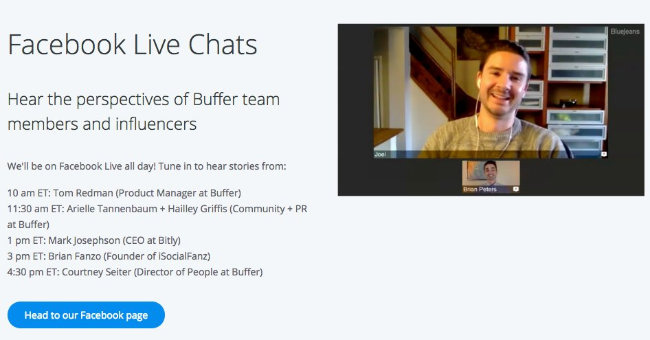 Excited to team up w/ @Buffer on Social Media Day #SMDay June 30th doing #FacebookLive   http:// buff.ly/2tl3DXI  &nbsp;   #ImpactofSocial #BufferChat <br>http://pic.twitter.com/rP2UwpopCP