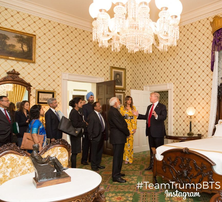 Trump Modi tour White House residence including Lincoln bedroom WH ...