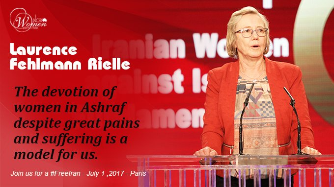 Laurence Felhmann Rielle: The devotion of women in Ashraf despite great pains &amp; suffering is a model. Join us for a #FreeIran July 1 #Canada<br>http://pic.twitter.com/aFiYPiJRx7