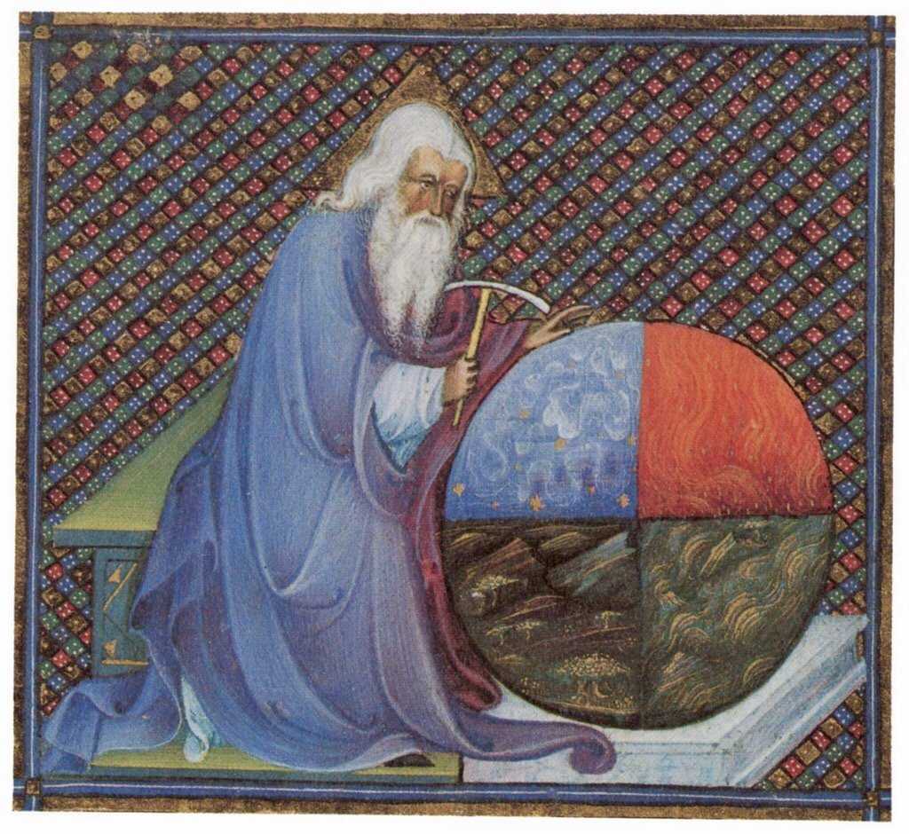 God shaping the world [Bible of Niccolò d'Este, Vatican, 15th c.] http...