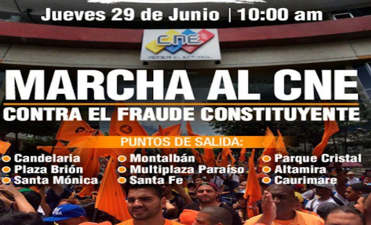 #MUD anunció marcha al #CNE para este jueves #29Jun https://t.co/IzyO4...