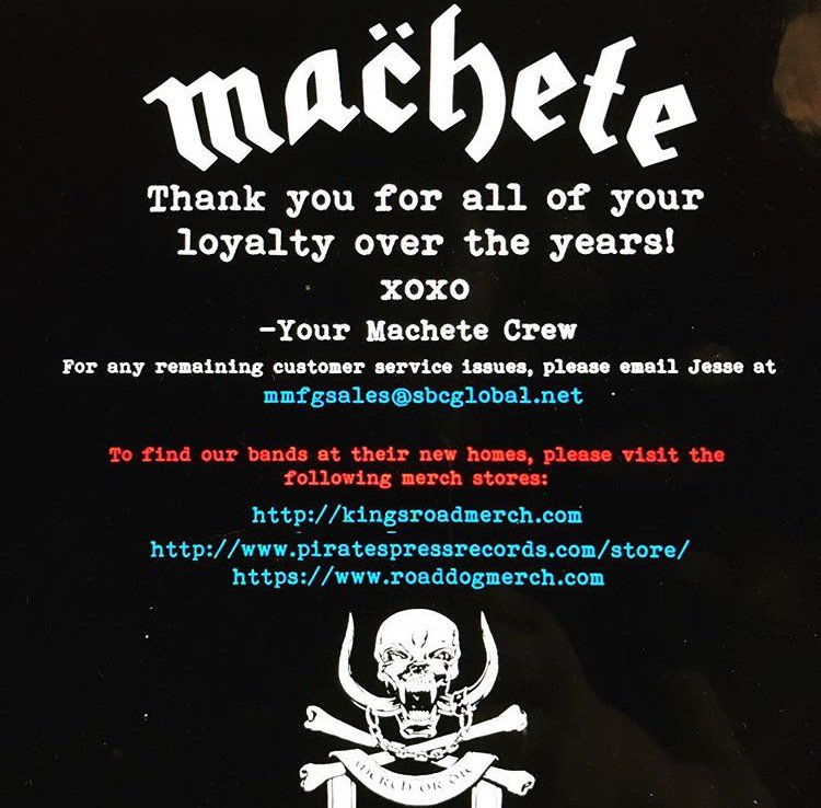 Saddened about MACHETE closing its doors but we are now the place for @OldFirmCasuals, Lars Frederiksen & The Bastards & @cocksparrer merch!