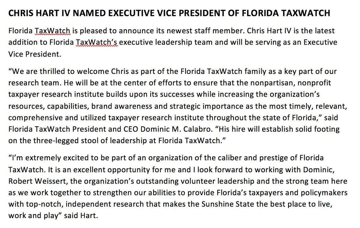 Congrats @ChrisHartIV, now Executive Vice President of @FloridaTaxWatch. #Sayfie #FlaPol<br>http://pic.twitter.com/od0kNIDrMf