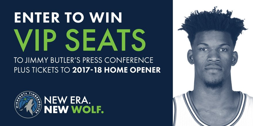 Also, there&#39;s still time to enter to win VIP seats to Jimmy&#39;s press conference + tix to #Twolves Home Opener! »  https:// minnesota-timberwolves.apps.umbel.com/728/press-conf erence-vip-experience-twitter/ &nbsp; … <br>http://pic.twitter.com/R2l0es8TxS
