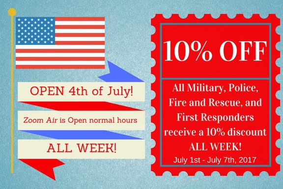 #Military/#FirstResponders get 10% off at @ZoomAir_ July 1-7. Take @RideSunRail&#39;s Choo Choo to the Zoo directly over! ZoomAir = open July 4.<br>http://pic.twitter.com/6vFBFPbfe7