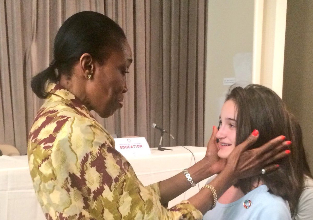 Amb. Dessima Williams @dwspice knows that kids -- &amp; teachers -- can be &quot;pinned&quot; to #TeachSDGs with or without govt. approval. #SDG4Action<br>http://pic.twitter.com/2QbmYnH8Jb
