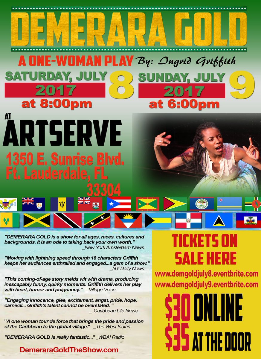 #FortLauderdale We Coming! @DemeraraGoldShw will be at @ArtServeInc this #July 8 &amp; 9! Snag those tix in bio! #CaribbeanTwitter #Immigrants<br>http://pic.twitter.com/F6r7Xb6pPQ