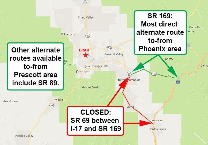 Erau Prescott On Twitter Road Closure Map As Of Noon Wednesday Due