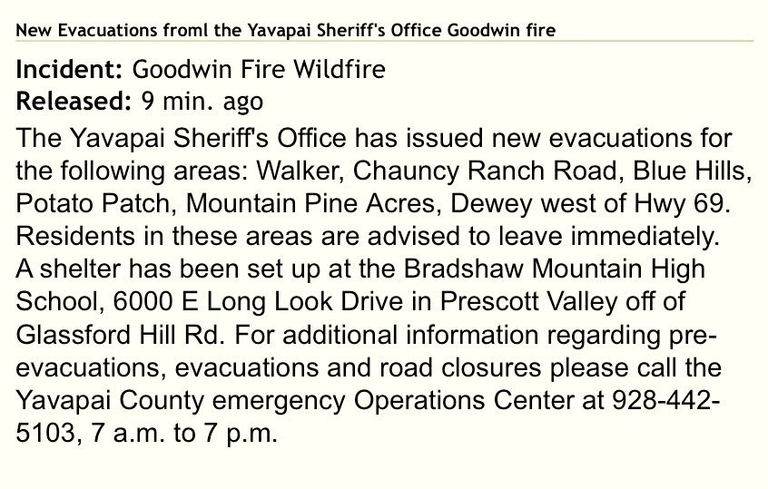 #breaking: New evacuations for #GoodwinFire Wildfire from the @YavapaiSheriff's Office. #azwx