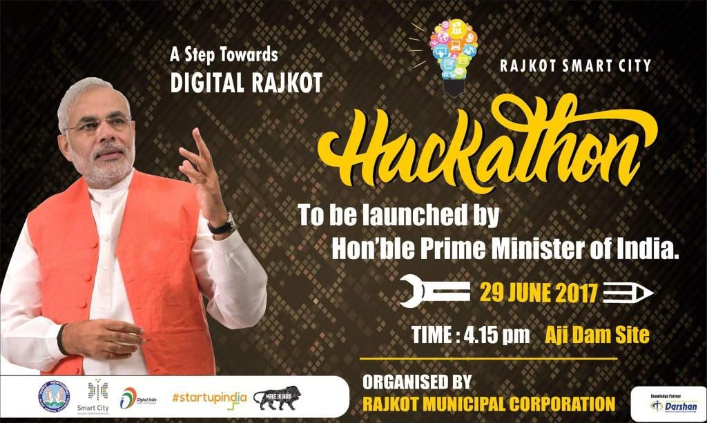 @Darshan_Inst heartly welcomes honorable @PMOIndia at @smartcityrajkot #rmc #rajkotsmartcityhackathon<br>http://pic.twitter.com/arA7vBc4ED