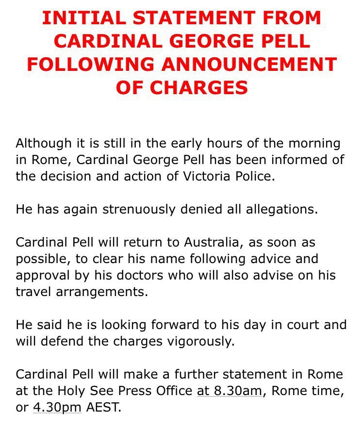 Cardinal Pell has confirmed he WILL return to Australia: ASAP. Further...
