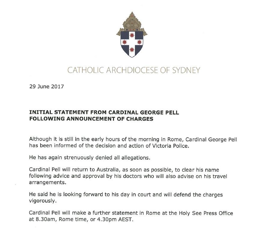 Cardinal George Pell has released a statement following announcement o...