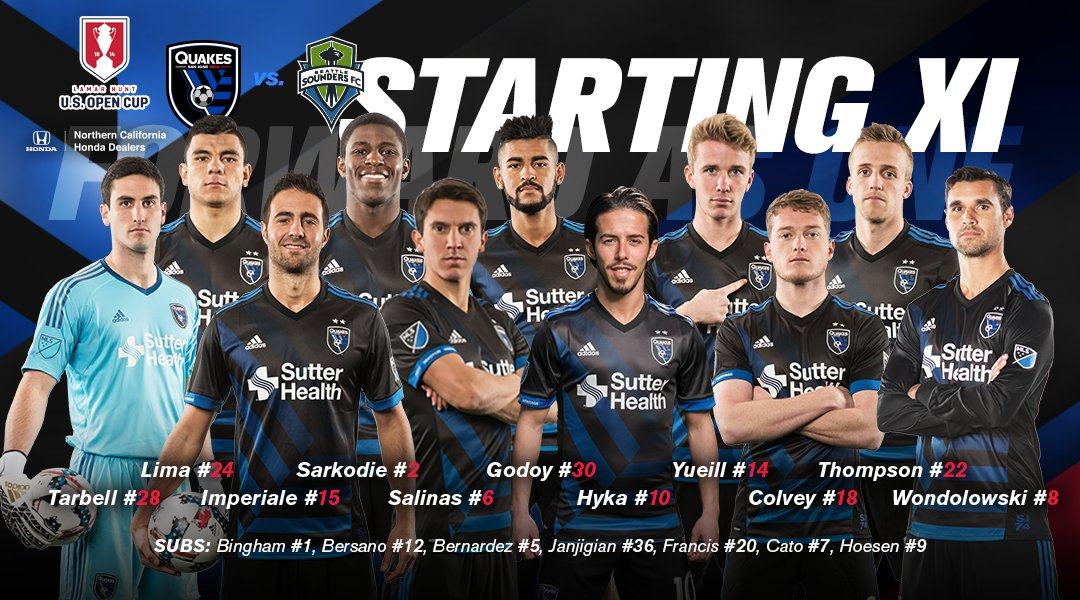 Your #Quakes74 starting XI for tonight's #USOC2017 match against @Soun...