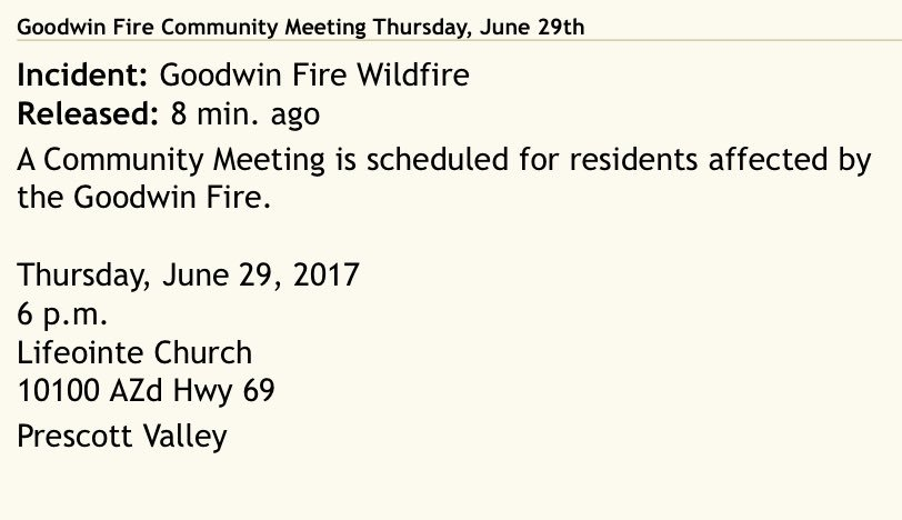 JUST IN: Community meeting scheduled for tomorrow evening at 6p for residents affected by #GoodwinFire. #azwx