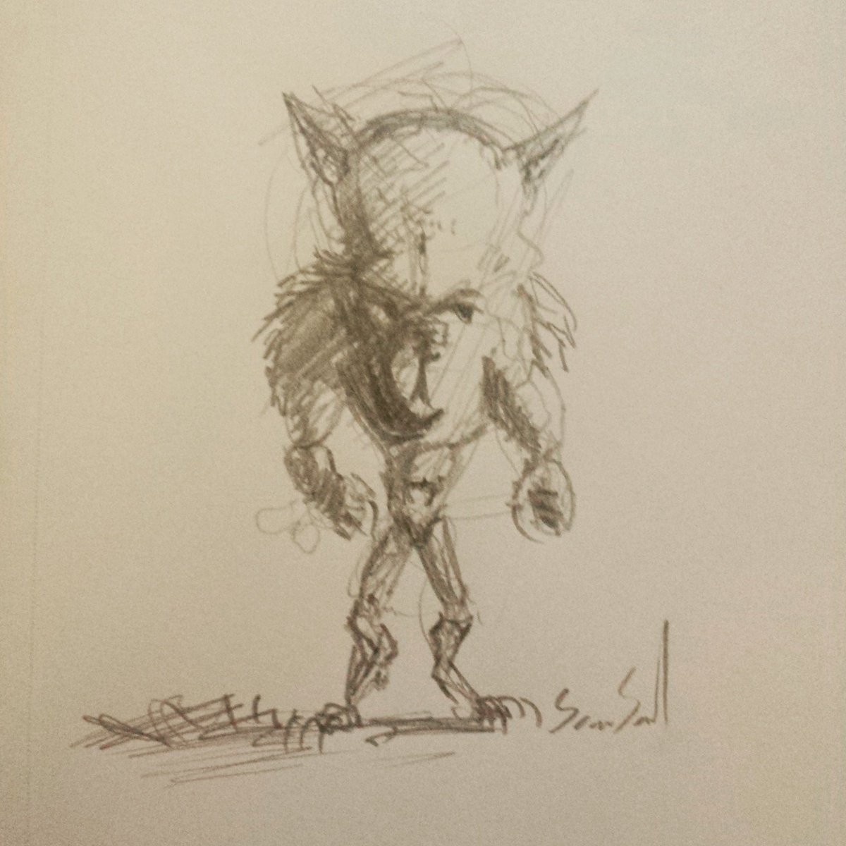 #werewolf a damn small and smart one too! The worst kind #horror #horrorfan #drawing #Sketching #WerewolfWednesday<br>http://pic.twitter.com/j3YNaSNdob