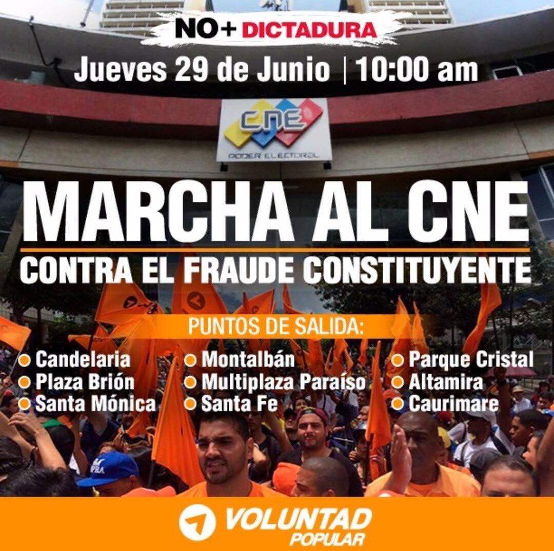 Este jueves #29Jun seguimos en la calle! Marchamos al CNE contra el fr...