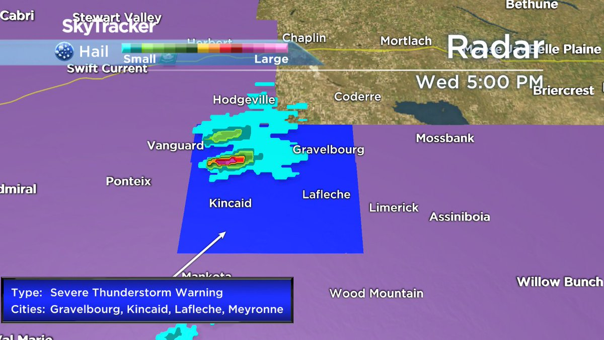 Severe thunderstorm west of Gravelbourg producing toonie-sized hail. #...