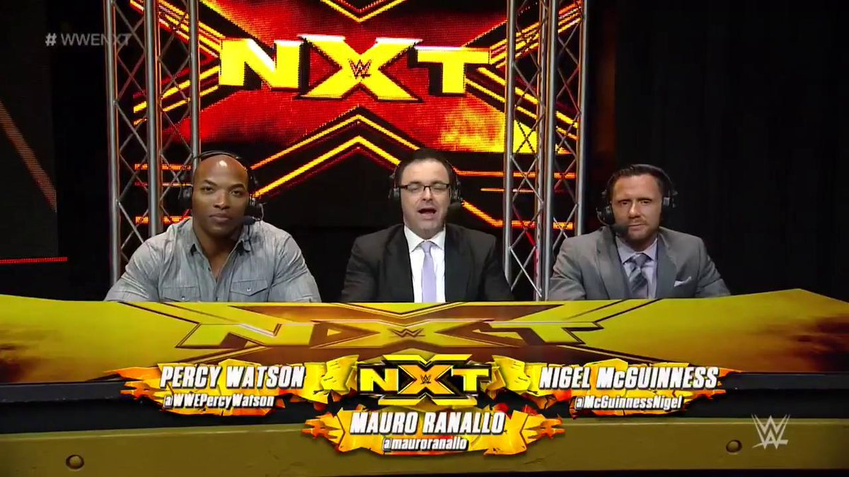 Welcome to the #WWENXT announce table, @mauroranallo! @McGuinnessNigel...