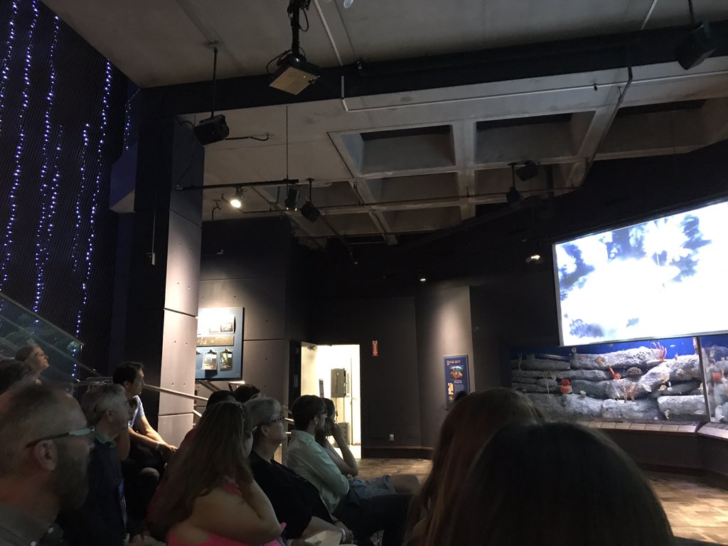 We laughed, we cheered, we watched cephalopods. Thanks for a great night @NatlMarineEd and @SCaquarium! 🦑 @scifri #NMEA17 https://t.co/DnejmD4cnd