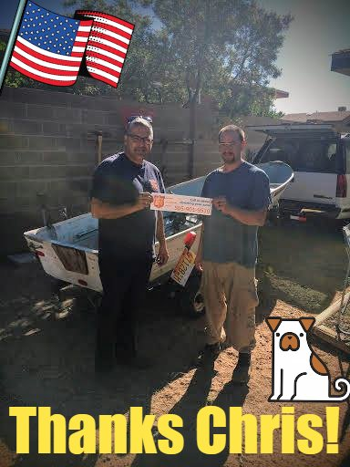 We&#39;ll take ANY vehicle, even a boat! Thx to Chris Hill for donating a boat &amp; trailer to @PawsandStripes! Proceeds help #veterans with #PTSD<br>http://pic.twitter.com/mAWxC9B3Nb