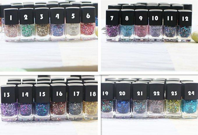 24 pcs/lot Latest product Snow glitter Nail Polish 8 ml Cosmetics 24 colors Nail Varnish Makeup tools gift
