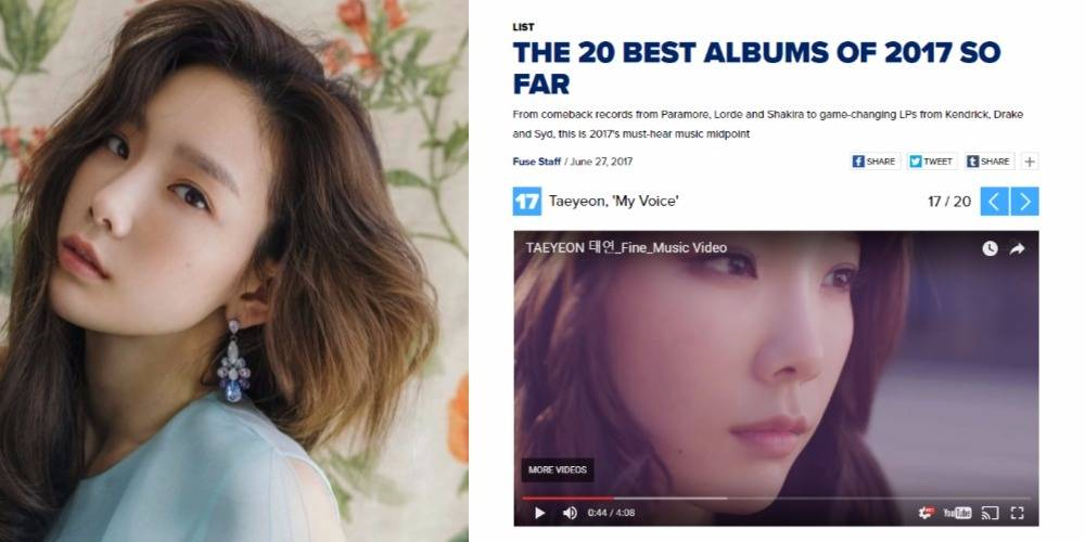 Girls\' Generation\'s Taeyeon ranks on FUSE TV\'s \'The 20 Best Albums of 2017 So Far\'!
