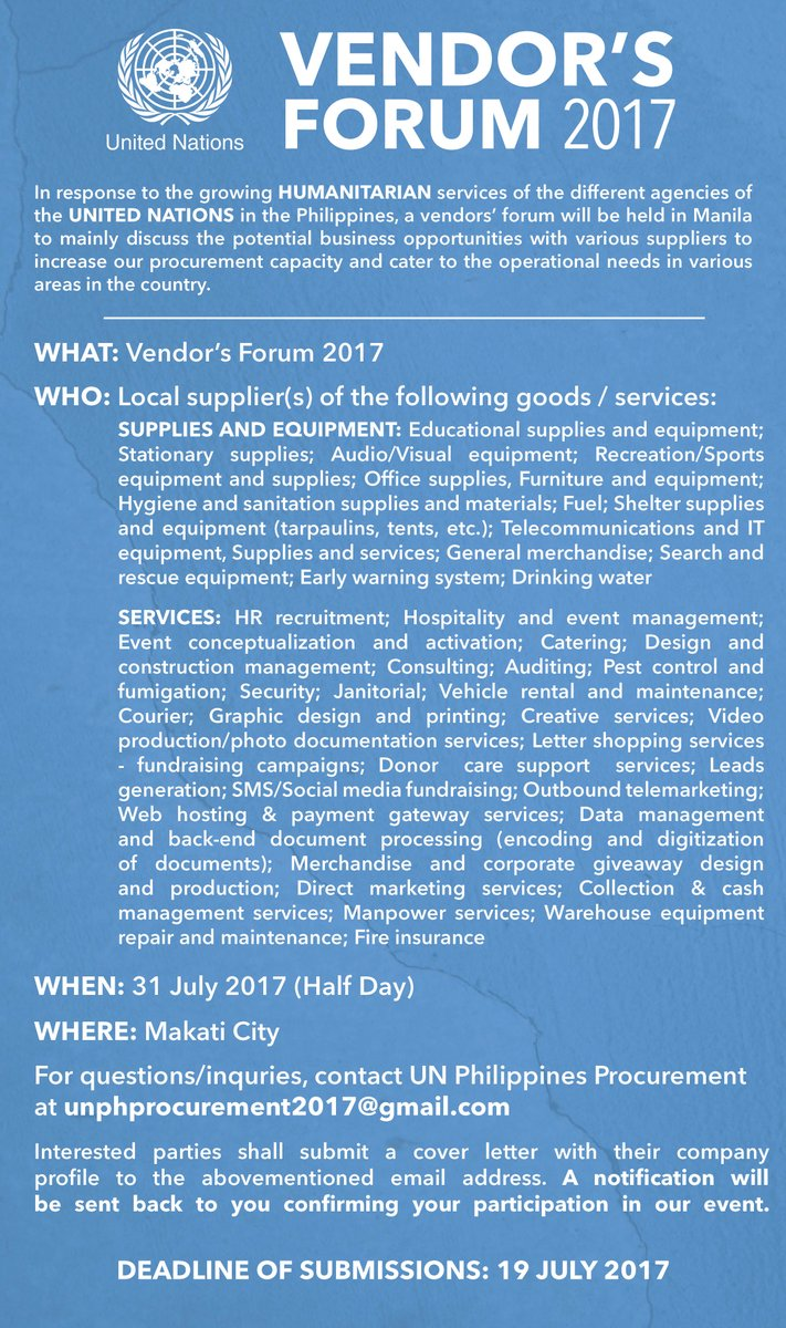 World Food Programme Philippines On Twitter How To Become A Supplier Or Service Provider To The Un Join The Vendor S Forum 2017 And Learn Potential Business Opportunities Https T Co J0w0ianu1n