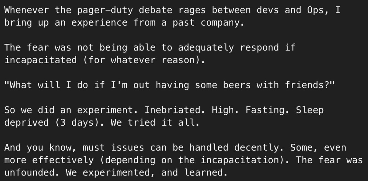 Page duty debate raging?  Try this experiment ...  (not me, but trusted source)  #devops #ops #dev #opslife<br>http://pic.twitter.com/ErRcqPHRHv