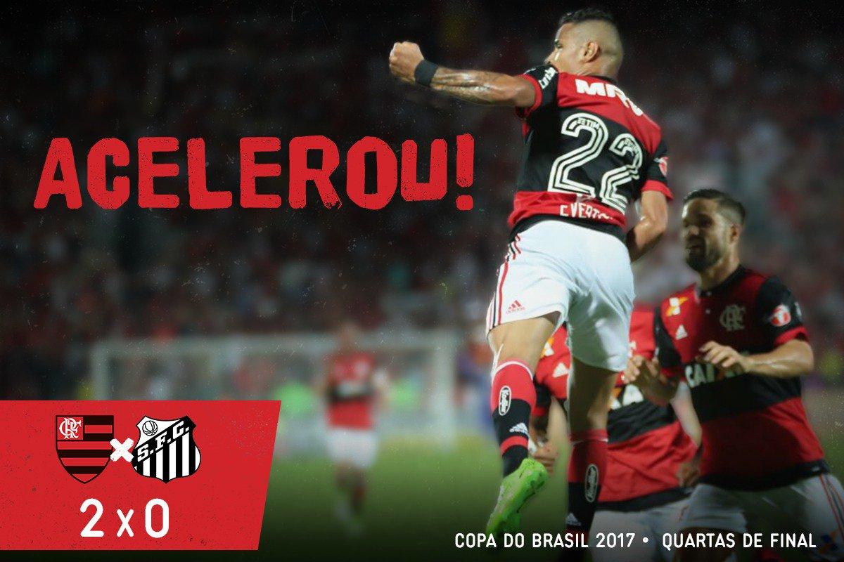 Com gols dos 'motorzinhos' do time, Mengão faz 2x0 no Santos e abre vantagem nas quartas da Copa do Brasil! #Acelerou
