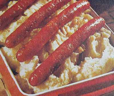 Sausage with pureed celeriac recipe