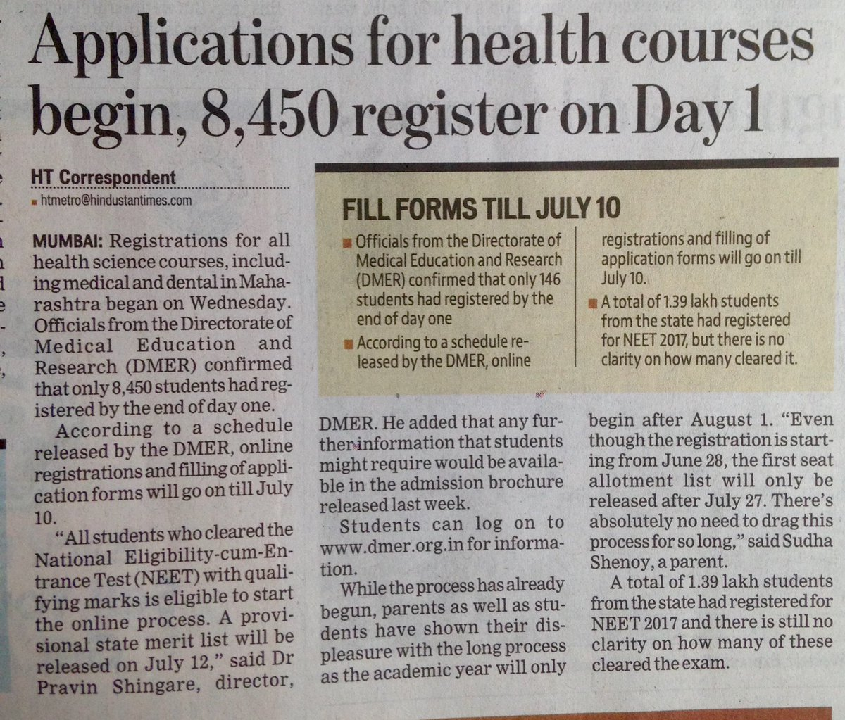 #DMER #Maharashtra #NEET2017UG 1.39 lakh students registered for #NEET @htTweets<br>http://pic.twitter.com/56yHBoBZ7D
