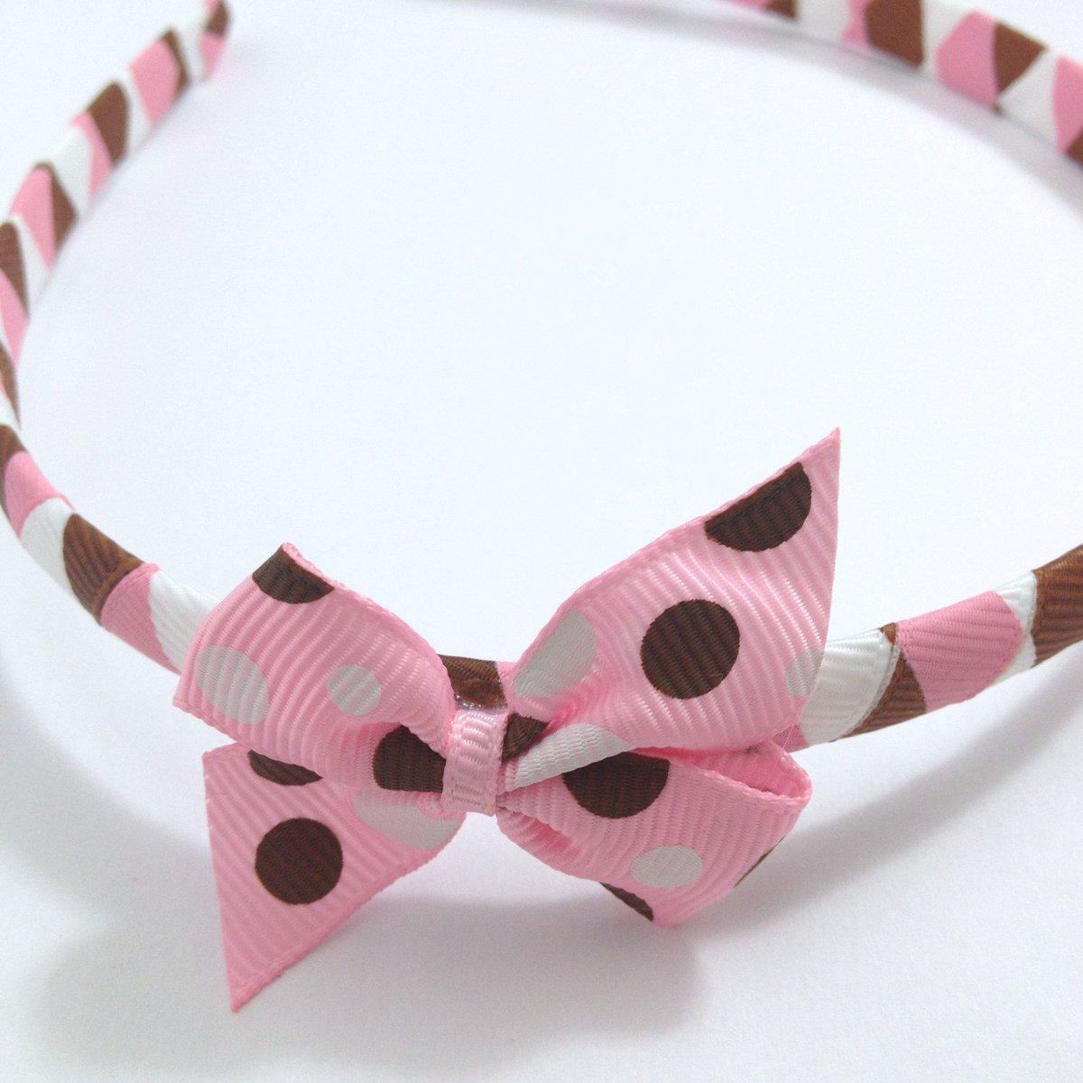 Pink, Brown, White Dots Pinwheel Hair Bow Headband  http:// buff.ly/2tiqFhK  &nbsp;   #handmade #etsy #flowerheadband #hairflower #etsyhandmade #pink<br>http://pic.twitter.com/g1CuRL7LDb