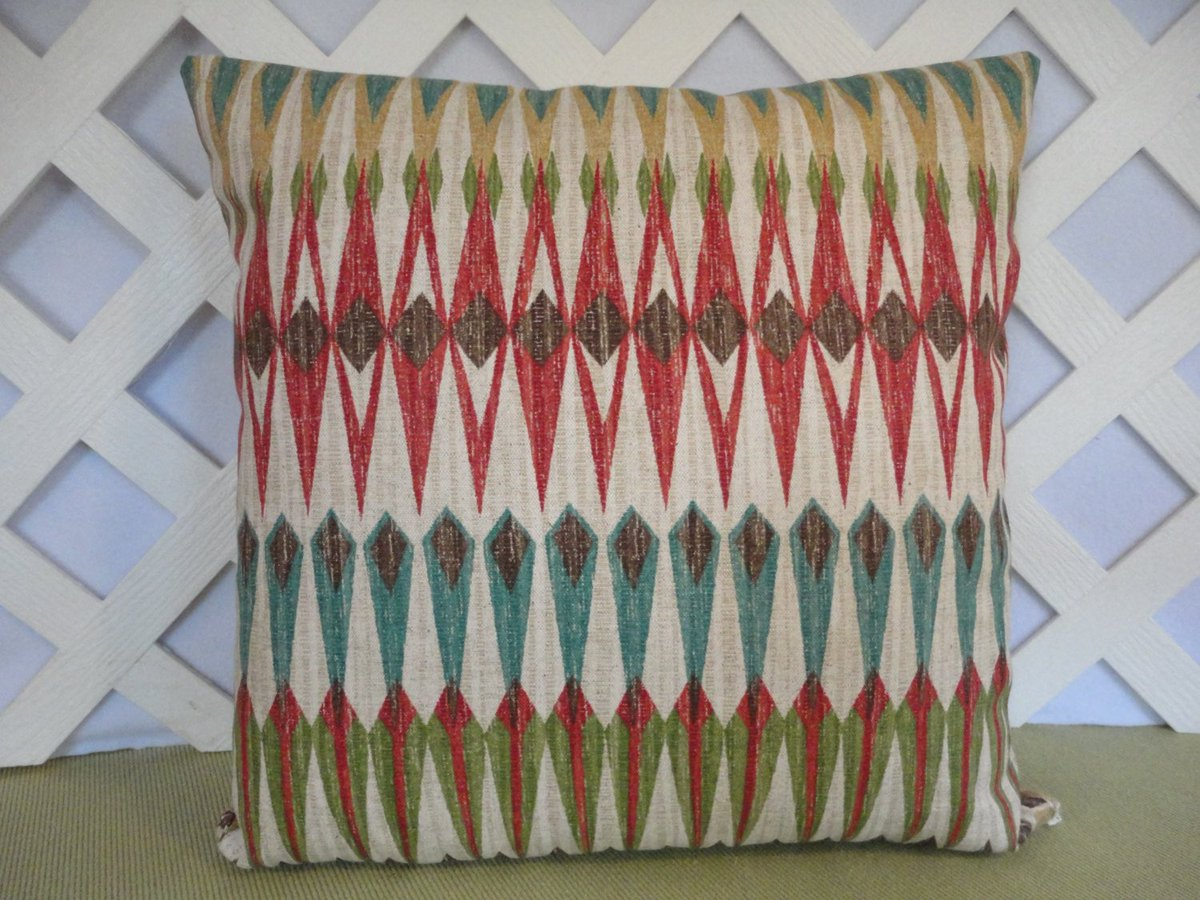 Tribal Pillow Cover in Teal Burgundy Green Brown Beige..  https:// seethis.co/3W7w4/  &nbsp;   #Etsy #pottiteam<br>http://pic.twitter.com/91xpIFIG6B