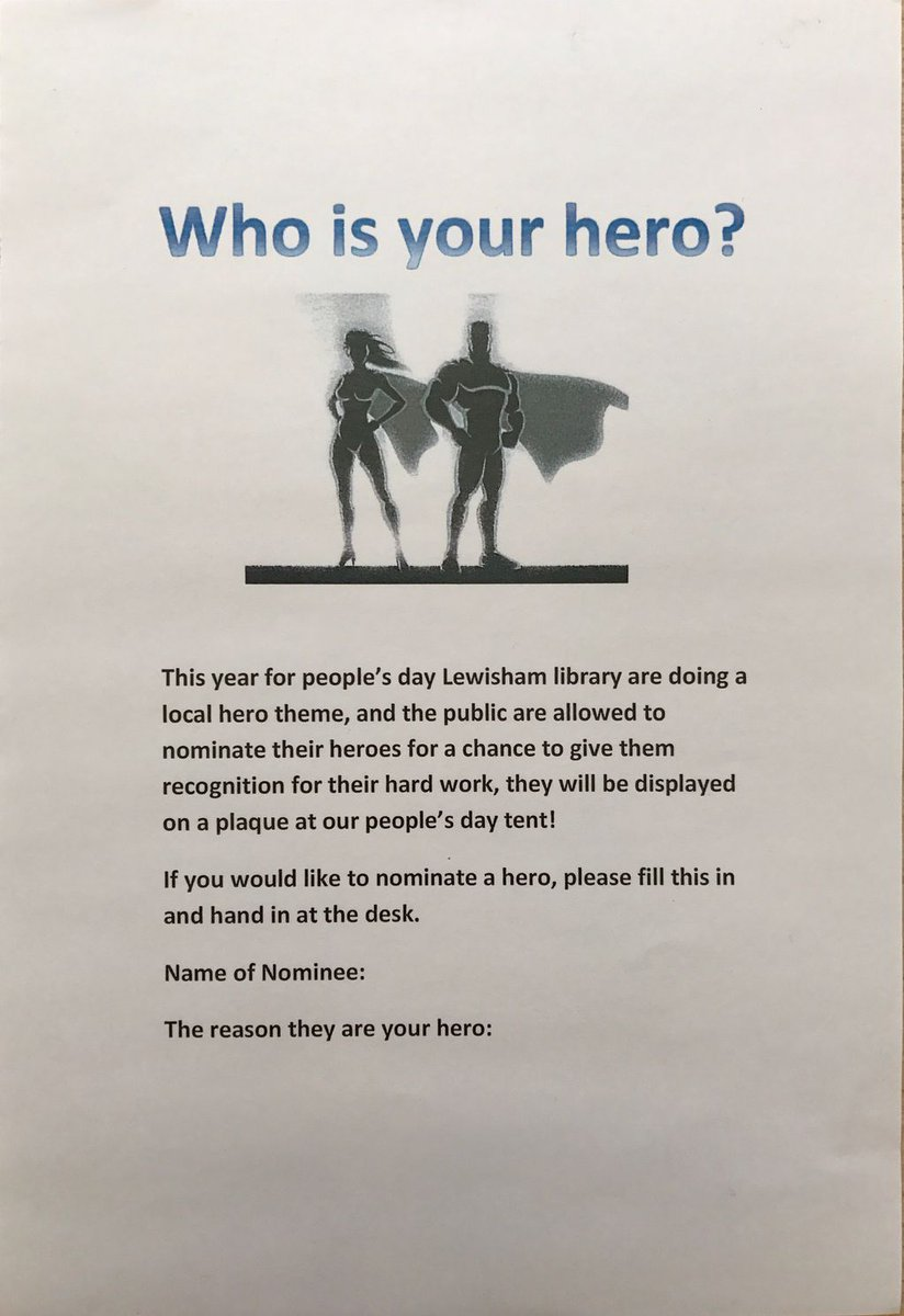 WHO IS YOUR HERO?  Pop into @LibrarySE23 and Vote for your #Local Hero right now! #ForestHill #SE23 @LewishamLibs @PeoplesDay<br>http://pic.twitter.com/krK6gfTDM8