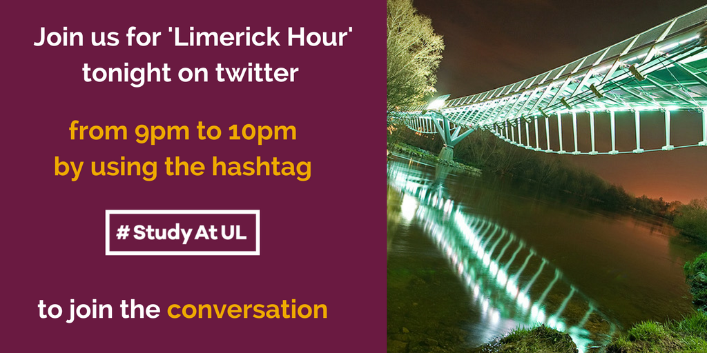#Researchers @UL_Research join the @UL community for @LimerickHour tonight 9pm - 10pm to share your experience of #StudyAtUL #ThinkBigAtUL <br>http://pic.twitter.com/HUmt0uAyhO
