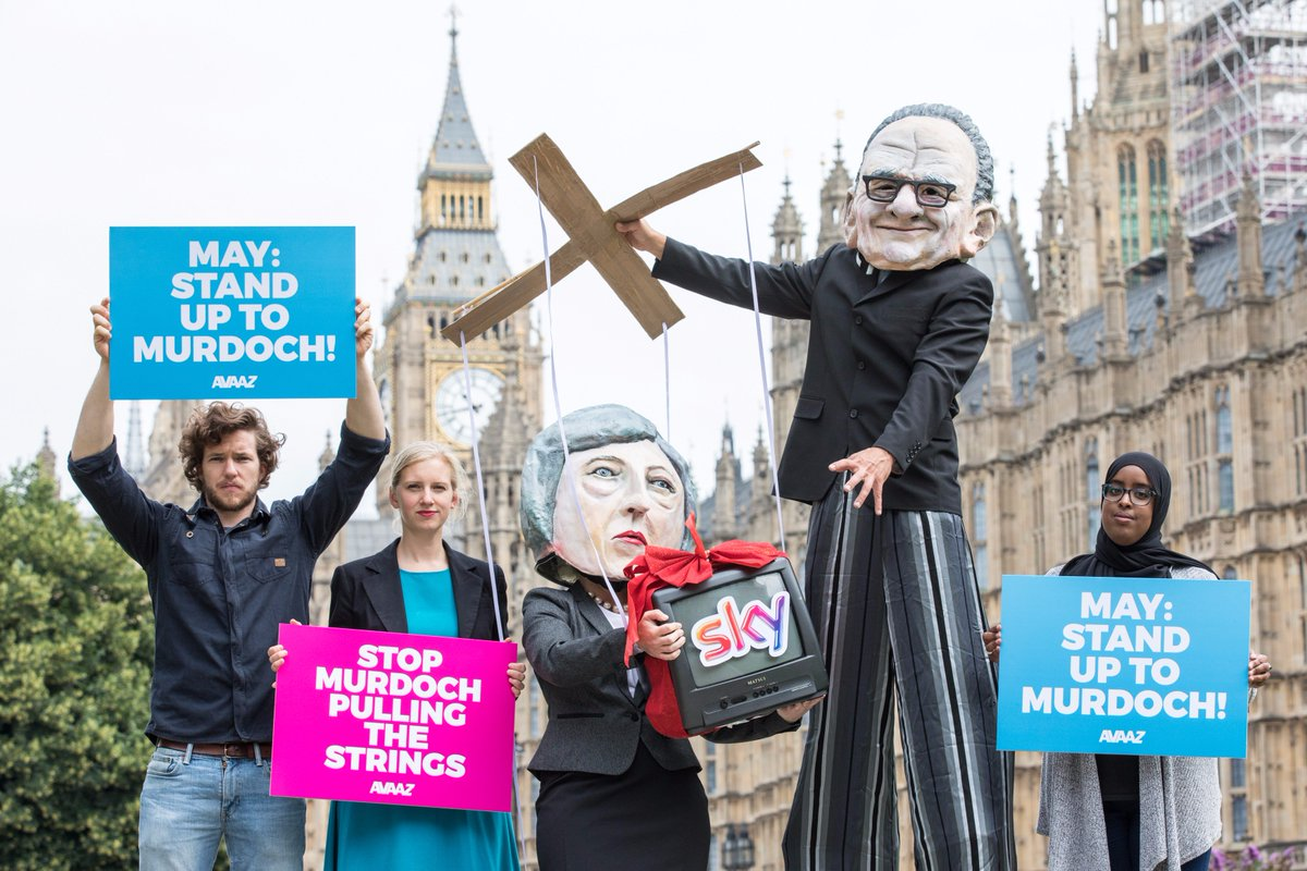 We're outside Parliament showing Rupert Murdoch pulling May's strings...