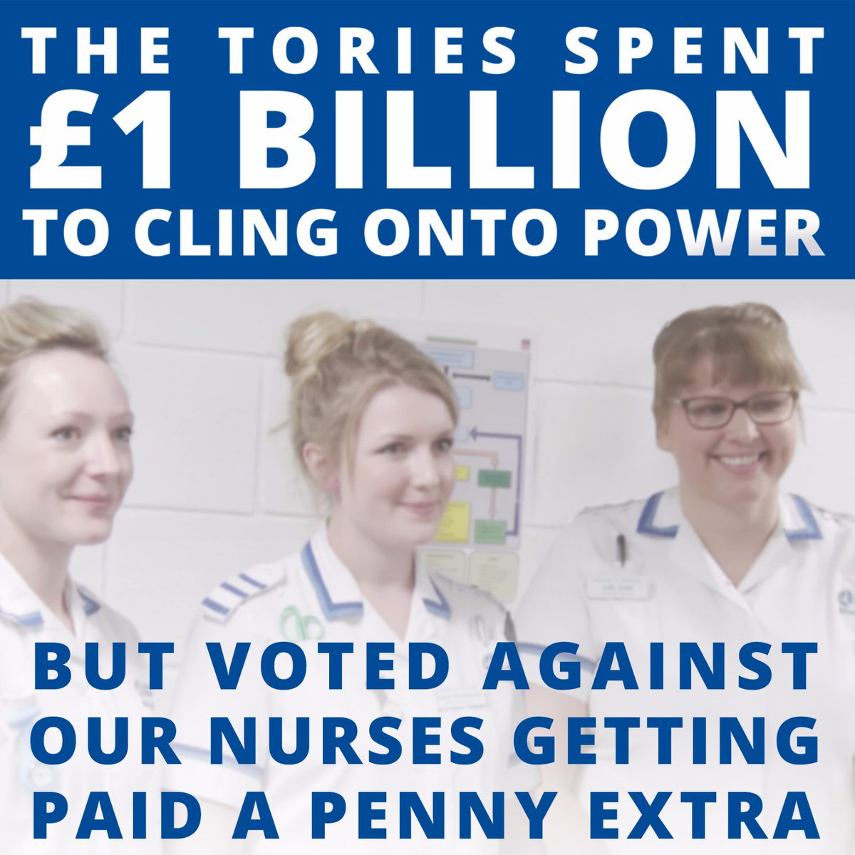 Monday, the @Conservatives spent £1 billion to cling onto power. Yesterday, they voted against nurses getting paid a penny extra #NastyParty