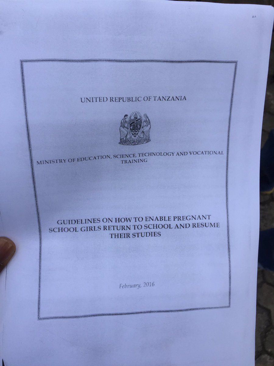 Actually, #Tanzania has been developing this guideline to help teen mothers return to school! I wonder what&#39;s next for this? #Arudishule<br>http://pic.twitter.com/fKkdVgdnYk