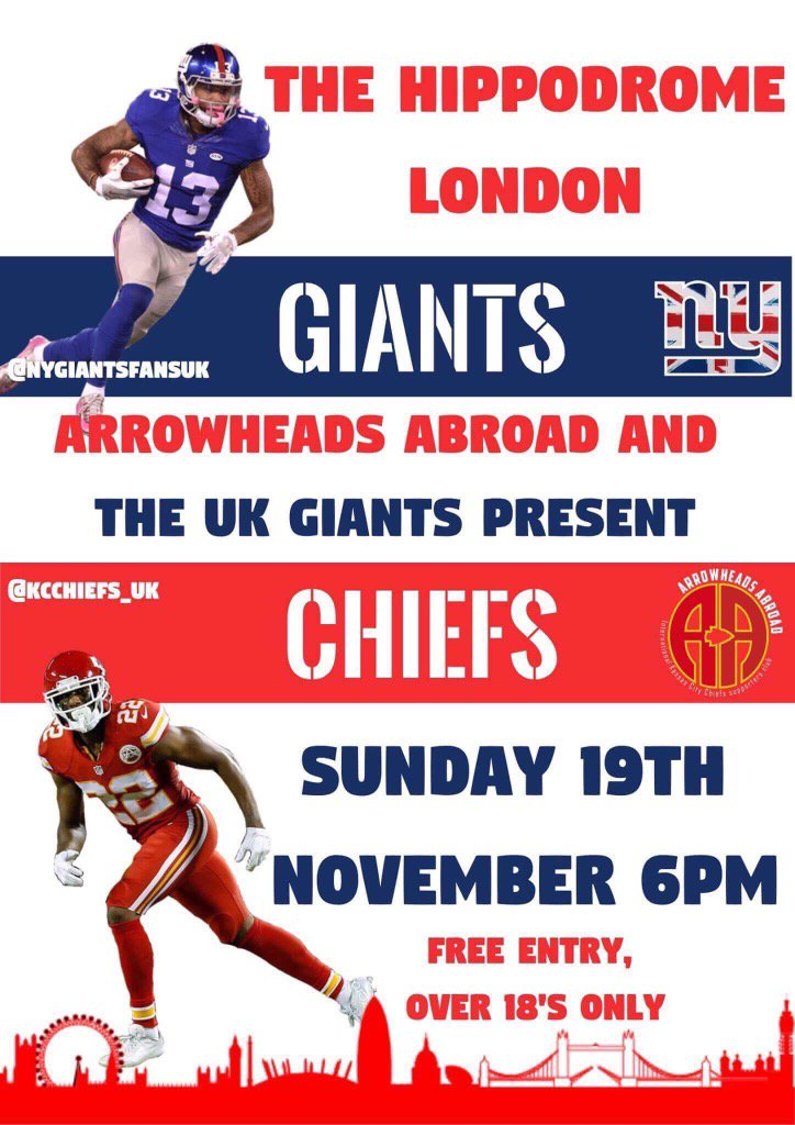 Join @KCChiefs_UK and ourselves in London for our Week 11 Watch Party #Giants #UKGiants #NFLUK #NYG #NYGiants (KB)<br>http://pic.twitter.com/g1Op8TiIf9