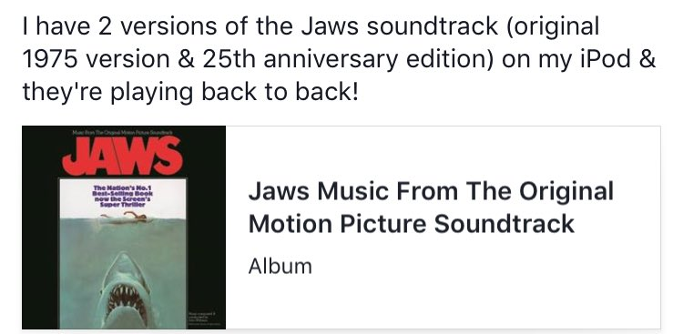Best movie soundtrack ever! So good I&#39;m listening to it twice in a row! #JAWS <br>http://pic.twitter.com/B9cju15371